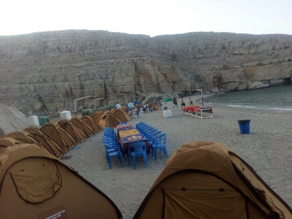 Campeggio in spiaggia di notte Khasab Musandam Crociere-4